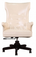 Off-White Genuine Leather Office Swivel Chair