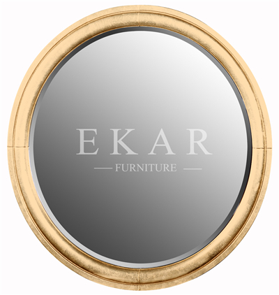 Classic Round Bedroom Mirror , Gold