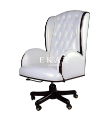 Office Furniture Snowy White Swivel Chair