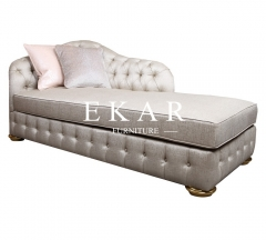 Neoclassical Style White Pull Buckle Designed Fabric Chaise Lounges