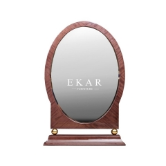 Vintage Style Movable Oval Solid Wood Vanity Mirror