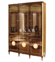 Vintage Style High Class Wooden and Glass Three-door Bookcase