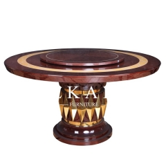 Dubai Luxury Style Lazy Susan Round Wooden Dining Table
