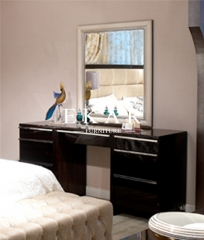 Italian Style Long White Wooden Framed Bedroom Vanity Mirror