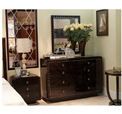 Vintage Style High Class Big and Long Black Wooden Dressing Table