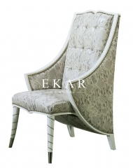White Leather Chair Patterned And A Half  Armless Chaise