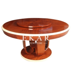 Vintage Style High Class Lazy Susan Round Wooden Dining Table For Living Room or Hotel
