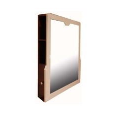 Vintage Style Beige and Brown Long Wooden Vanity Mirror