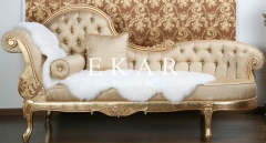 Yellow Leather Chaise Long Chair Lounge Indoor