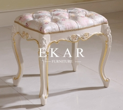 White Wooden With fabric Dressing Stool