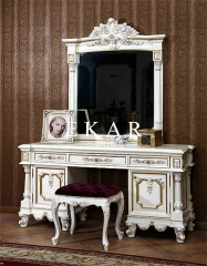 Luxury Vintage White Wooden Dressing Table Makeup Table