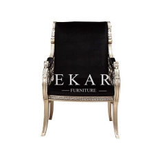 Luxury Home Furniture Vintage Gold Wooden Black Chair