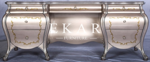 Luxury Furniture Vintage Gold Book Table Desk Bookcase