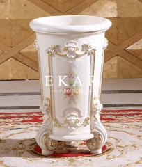 White Solid Wood With Patterns Flower Stand For Home Furniture