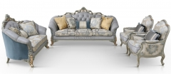 Wooden Carved Classic Leather And Fabric Grey Sofa Set