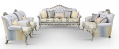 Gray classic carved flower corduroy sofa bedroom furniture set