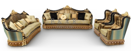 Luxury Golden Carving Leather Couch 9 seater Sofa Set