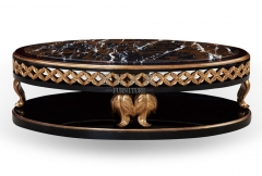 Black Oval Marble Top Coffee Table