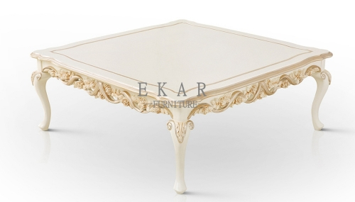 Cream White Wood Top Coffee Table