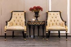 Antique Golden Fabric Leisure Chairs With Armrest For Living Room
