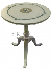 Small Grey Round Wooden End Table/Accent Table/Decorative Table