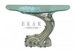 Trunk-shaped Wooden and Glass Console Table/Hallway Table/Entryway Table