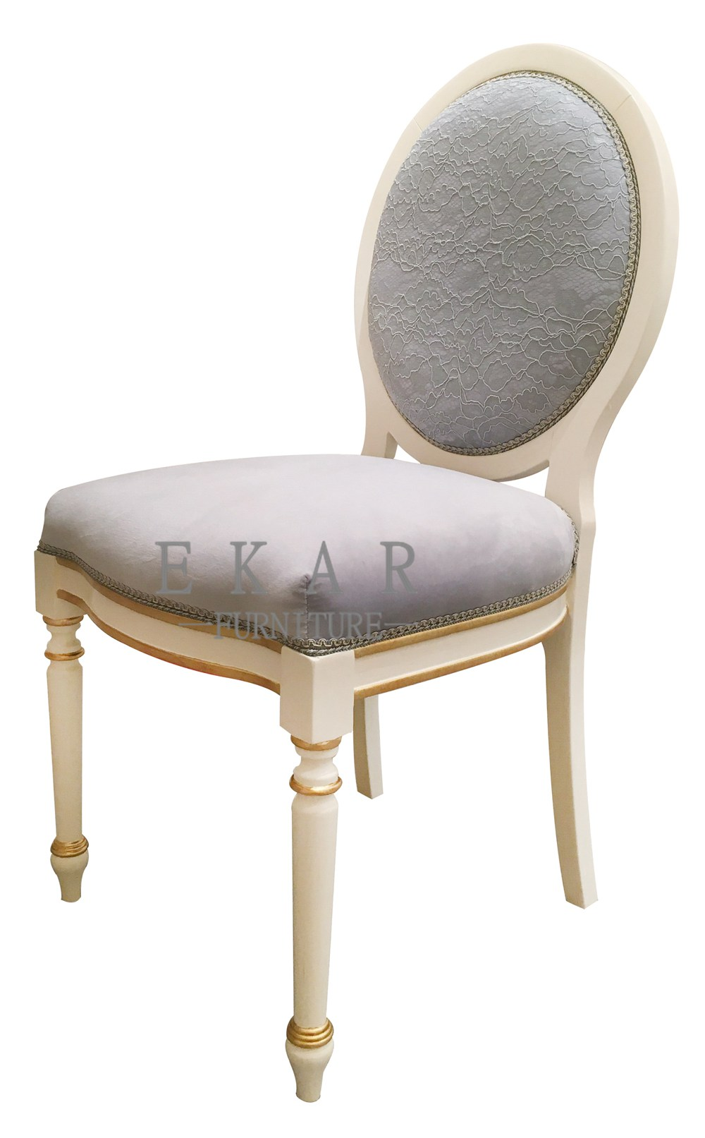 Delicate Small Grey Wooden Dressing Stool Vanity Chair