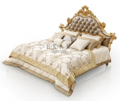 Luxury Brown Carved Leather Headboards Bed