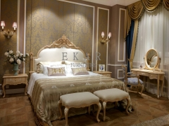 French Luxury Style Off-white and Golden Queen Bed