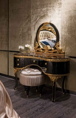 Black and Golden Wooden Mirrored Vanity Table with drawers /Makeup Table/Bedroom Furniture
