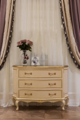 French Style Ivory White Veneered Wooden 3 Chests of Drawers