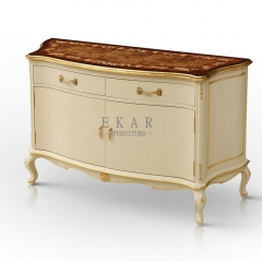 Kakhi White French Style Sideboard/Meal Side Container/Side Cabinet
