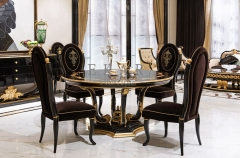 Classic Round BlackSolid Wood Quality Dining Table with Marble Lazy Susan