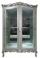 Grey Double Door Carved  Wooden and Glass Floral Cabinet/BarCabinet/Storage Cabinet