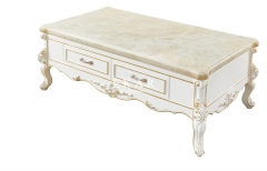 Living Room White Marble Square Coffee Table