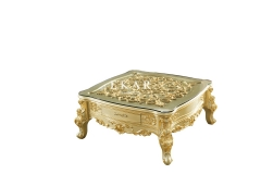 Best Retro Gold Carved Glass Coffee Table