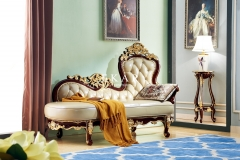 Wood Carved Elegant European Luxury Chaise Lounge