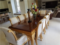 luxury long big 10/12/14/16/18seater chairs carved gold high gloss veneer dining table set