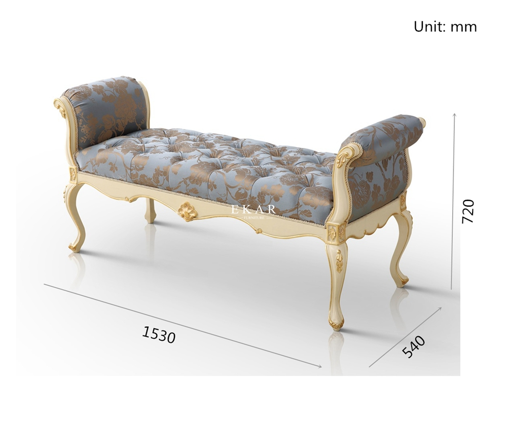 Luxury Royal Bedroom Bench Bed Stools