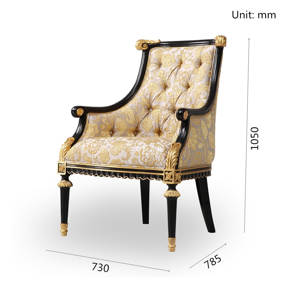 Antique Golden Fabric Leisure Chairs With Armrest For Living ...