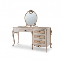 Ash Wood 4 Drawer Carving Vintage Dressing Table Mirror