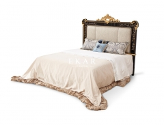 Solid Wood King Size Fabric Headboard Luxury Carved Bed