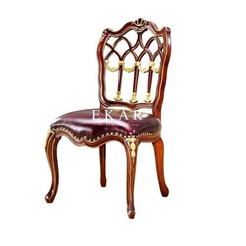 Classic Luxury Leather Solid Wood Upholstered Antique Dining Chair