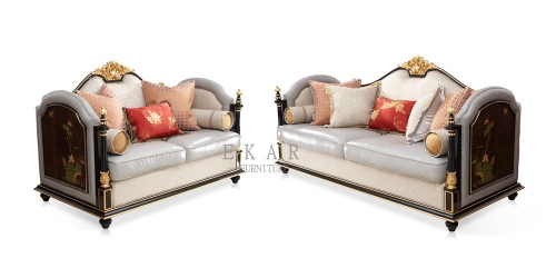 Wooden Leather and Fabric Living Room Furniture Luxury Sofa