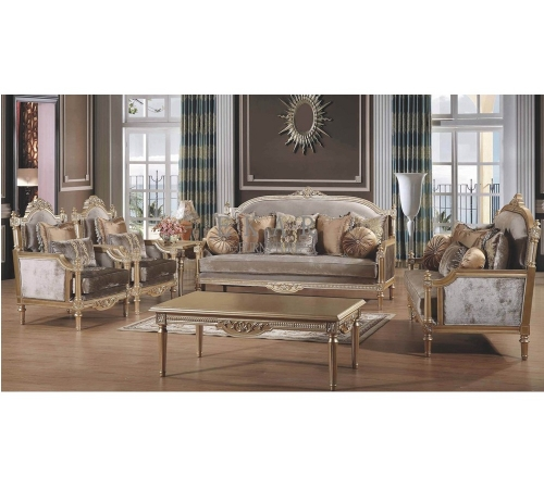 Antique Gray Velvet Fabric With Wood Carving Living Room Sofa Set