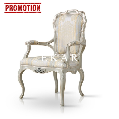 Silk Embroidered Upholstered Dining Arm Chair